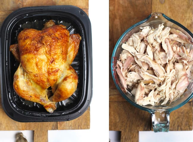 Collage of 1) a rotisserie chicken, and 2) shredded rotisserie chicken.