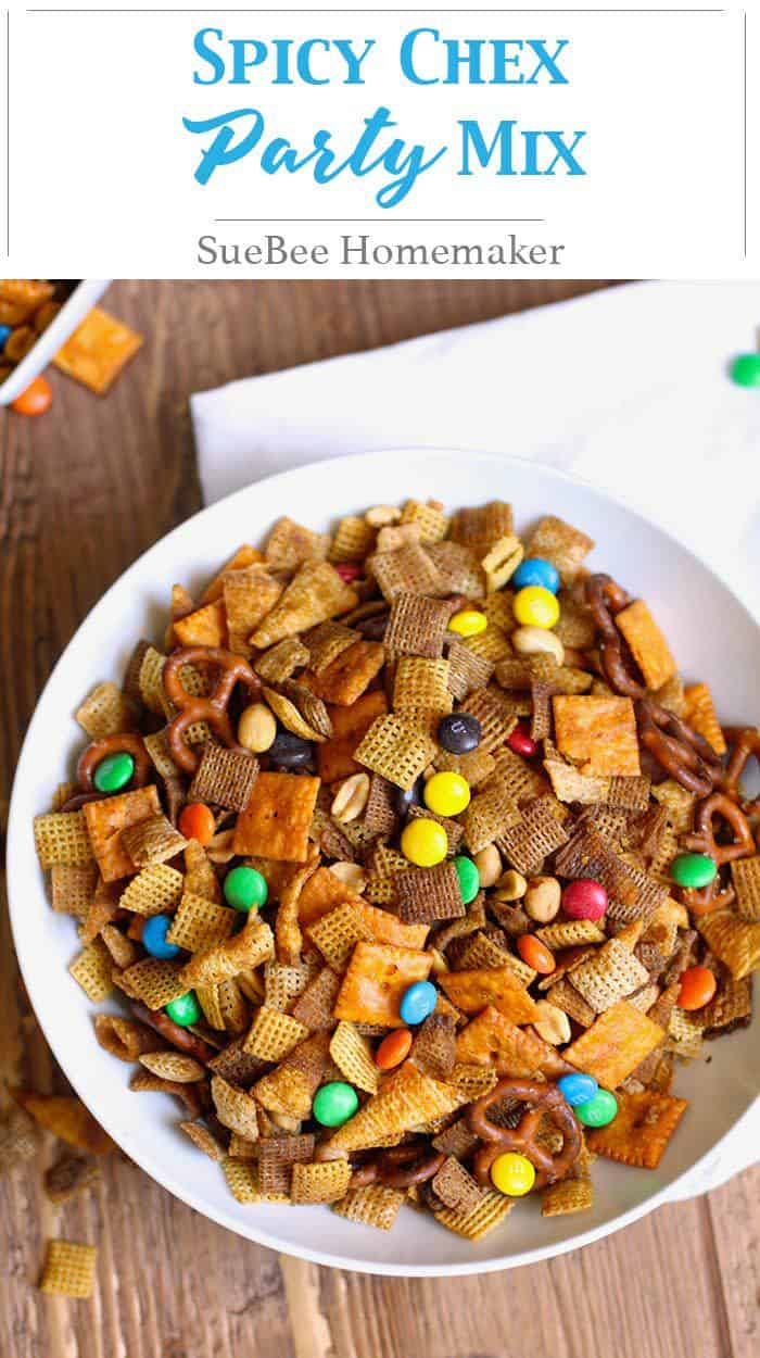Spicy Chex Party Mix is a spin on the classic Chex mix, with the addition of a big hit of hot sauce! Watch out because this is totally addicting! | suebeehomemaker.com | #spicys #chexmix #chexpartymix #snacks #gameday