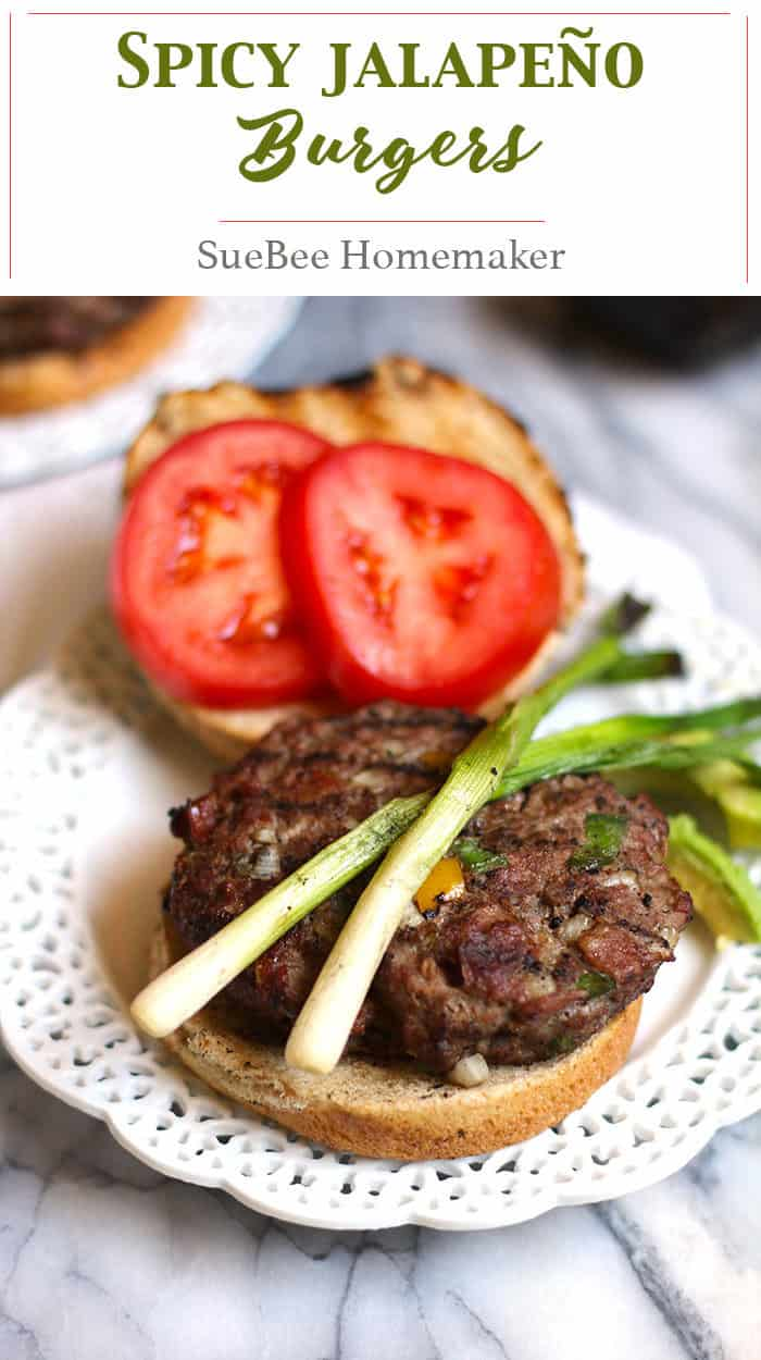 Spicy Jalapeño Burgers combine ground sirloin with diced onions, bell peppers, and jalapeño peppers, making these moist and moderately spicy! | suebeehomemaker.com | #jalapenoburgers #burgers #spicyburgers #grilling #barbecue