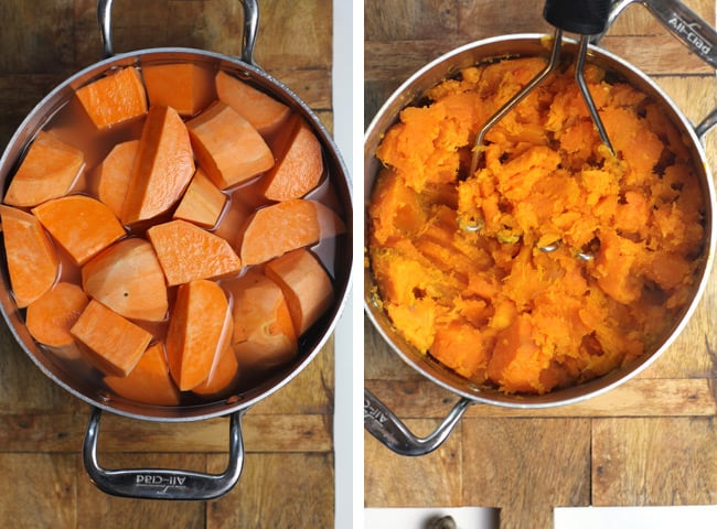 Collage of 1) chopped sweet potatoes, and 2) mashed sweet potatoes.