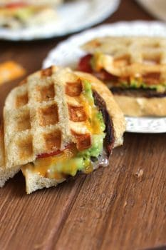 Turkey Burger Patty Melts combine Seasoned Jennie-O turkey burgers with french bread, mashed avocados, tomato slices, and cheddar-jack cheese! | suebeehomemaker.com