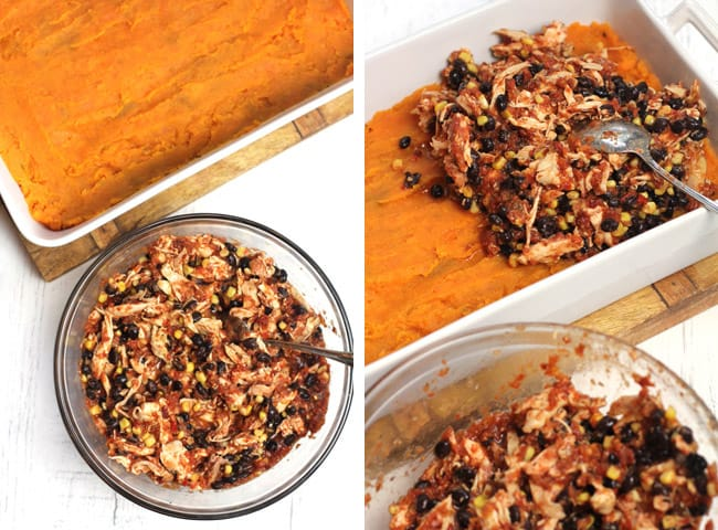 Collage of sweet potato mash with the sauce and chicken mixture.