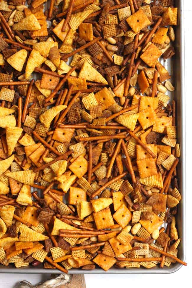 Sheet pan of baked Spicy Chex Party Mix.