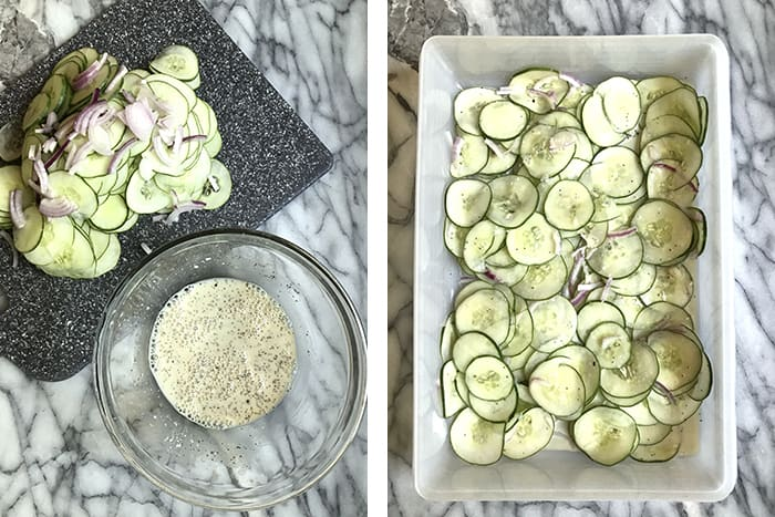 My Fresh Cucumber Salad recipe uses plain greek yogurt, honey, and apple cider vinegar in the dressing, along with fresh cucumbers and red onions! | suebeehomemaker.com
