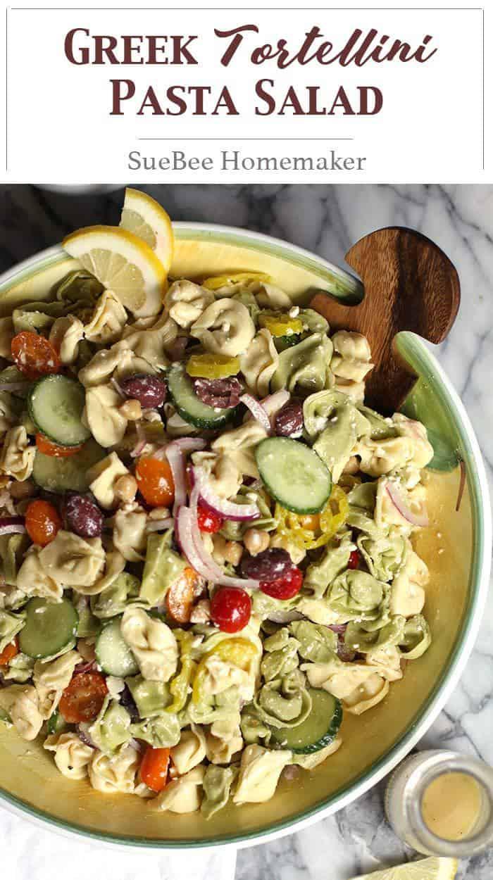 Greek Tortellini Pasta Salad combines cheese-filled tortellini with garbanzo beans, feta cheese, olives, lots of veggies, and a fresh greek vinaigrette! | suebeehomemaker.com | #greeksalad #pastasalad #tortellini #tortellinipastasalad #greekfood #salad