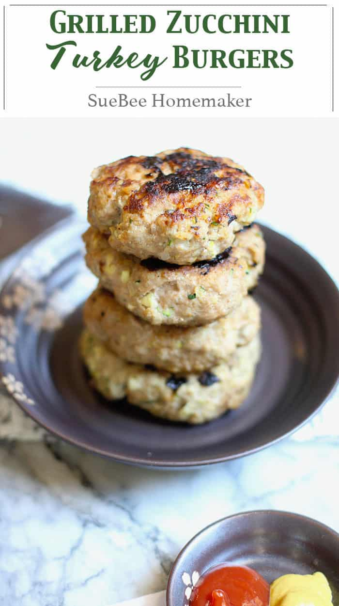 Grilled Zucchini Turkey Burgers combine lean ground turkey with grated zucchini and onion, bread crumbs, parmesan cheese, and seasonings! So good!   suebeehomemaker.com   #grilling #burgers #turkeyburgers #zucchiniburgers #zucchini