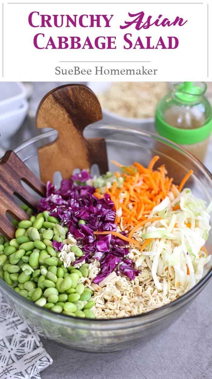 Crunchy Asian Cabbage Salad is a classic pot-luck dish that I tweaked slightly, by adding shelled edamame and adjusting the salad dressing. Still SO good! | suebeehomemaker.com | #asiancabbagesalad #cabbagesalad #cabbage #asiansalad #salad #potluck
