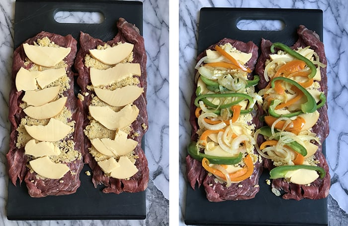 Stuffed Flank Steak Roll combines a tender cut of beef, with a bread crumb mixture, smoked gouda cheese, and a pepper and onion sauté - rolled and grilled!   suebeehomemaker.com