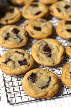 Dark Chocolate Chunk Cookies are the perfect soft and chewy cookie, using chopped dark chocolate and a secret ingredient - cornstarch!   suebeehomemaker.com