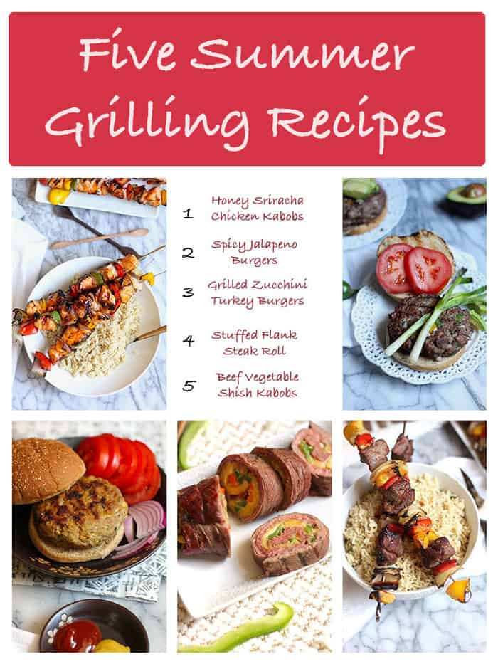The following five grilling recipes are some of my family's favorites! Two burger recipes, two kabob recipes, and a delicious stuffed flank steak recipe!   suebeehomemaker.com