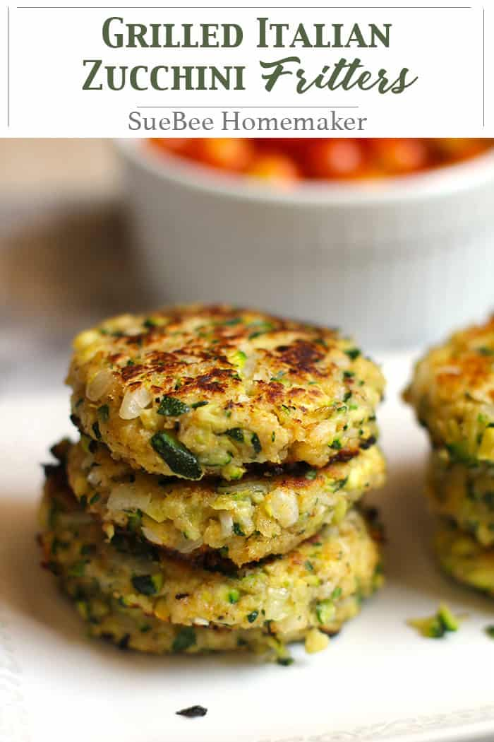 Grilled Italian Zucchini Fritters combine shredded zucchini with eggs, bread crumbs, parmesan cheese, onion, and seasonings - all fried up in a grill pan! | suebeehomemaker.com | #zucchinifritters #zucchini #grilledfritters #Italian