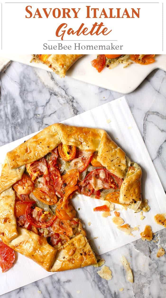 My Savory Italian Galette uses a store-bought pie crust, pesto sauce, sautéed onions, fresh tomatoes, and shaved parmesan cheese to create an amazing dish! | suebeehomemaker.com | #savorygalette #galette #italianpie #pizza #pesto