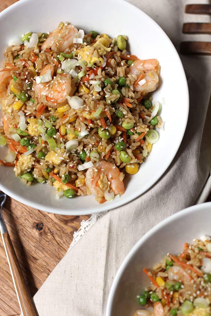 Shrimp Fried Rice is the perfect weeknight meal that can be thrown together in 30 - 40 minutes! Way healthier than take-out and super tasty too! | suebeehomemaker.com