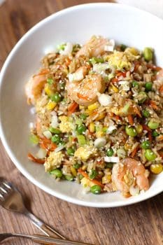 Shrimp Fried Rice is the perfect weeknight meal that can be thrown together in 30 - 40 minutes! Way healthier than take-out and super tasty too!   suebeehomemaker.com