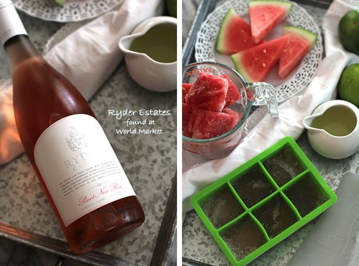 Go grab a big juicy watermelon, a few limes, some honey, and a bottle of your favorite Rosè. Let's make this Watermelon Lime Frosè and have a party! | suebeehomemaker.com