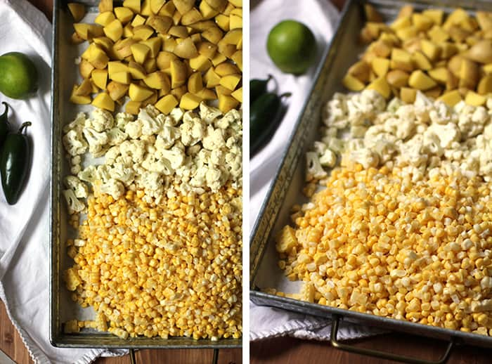 Overhead process shots of the potatoes, cauliflower, and corn, on a gray tray.