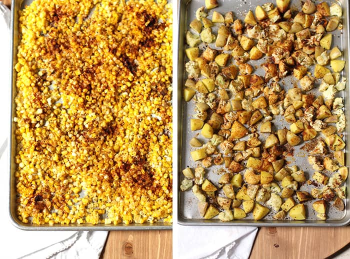 Overhead process shots of 1) the roasted corn with spices on it, and 2) the roasted potatoes and cauliflower with spices, both on baking sheets.