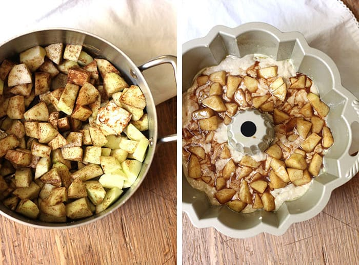 Granny Smith apples, over-ripe bananas, cinnamon, and apple pie spice are the featured ingredients in this delicious Apple Pie Banana Bundt Cake! |suebeehomemaker.com