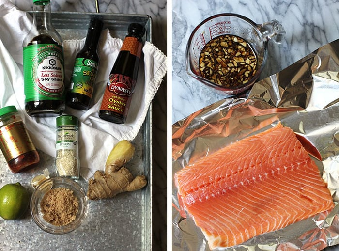 Collage of the marinade ingredients and the salmon filet.