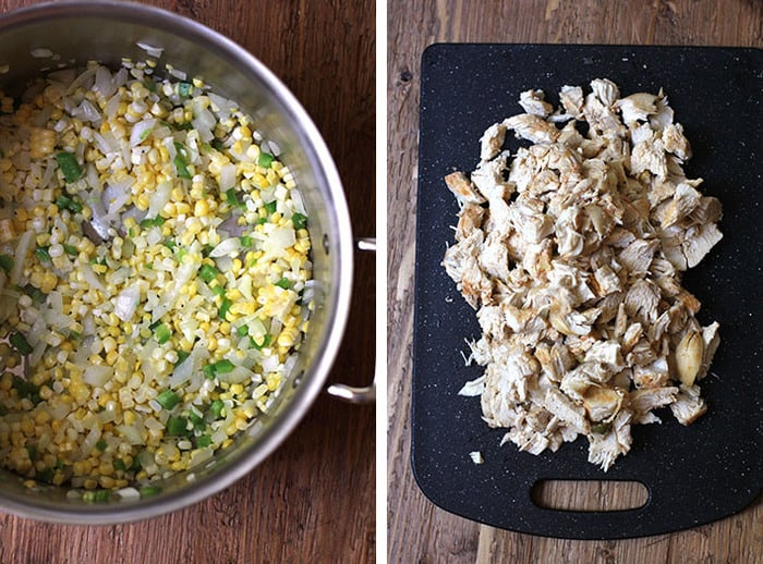 Overhead process shots of 1) a large stock pan of sautéed corn, onion, and jalapeños, and 2) a black cutting board with shredded cooked chicken.