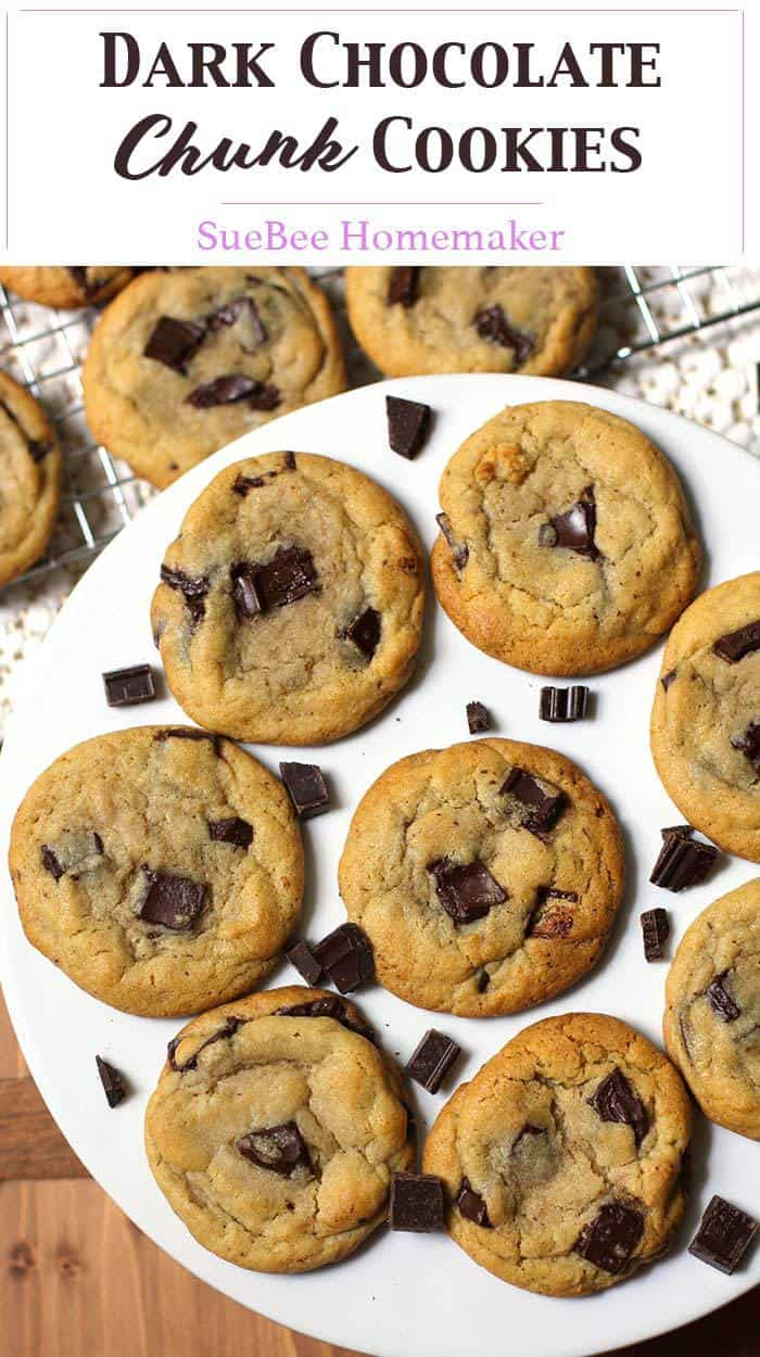 Dark Chocolate Chunk Cookies are the perfect soft and chewy cookie, using chopped dark chocolate and a secret ingredient - cornstarch! | suebeehomemaker.com | #darkchocolate #cookies #chocolatechunkcookies #dessert