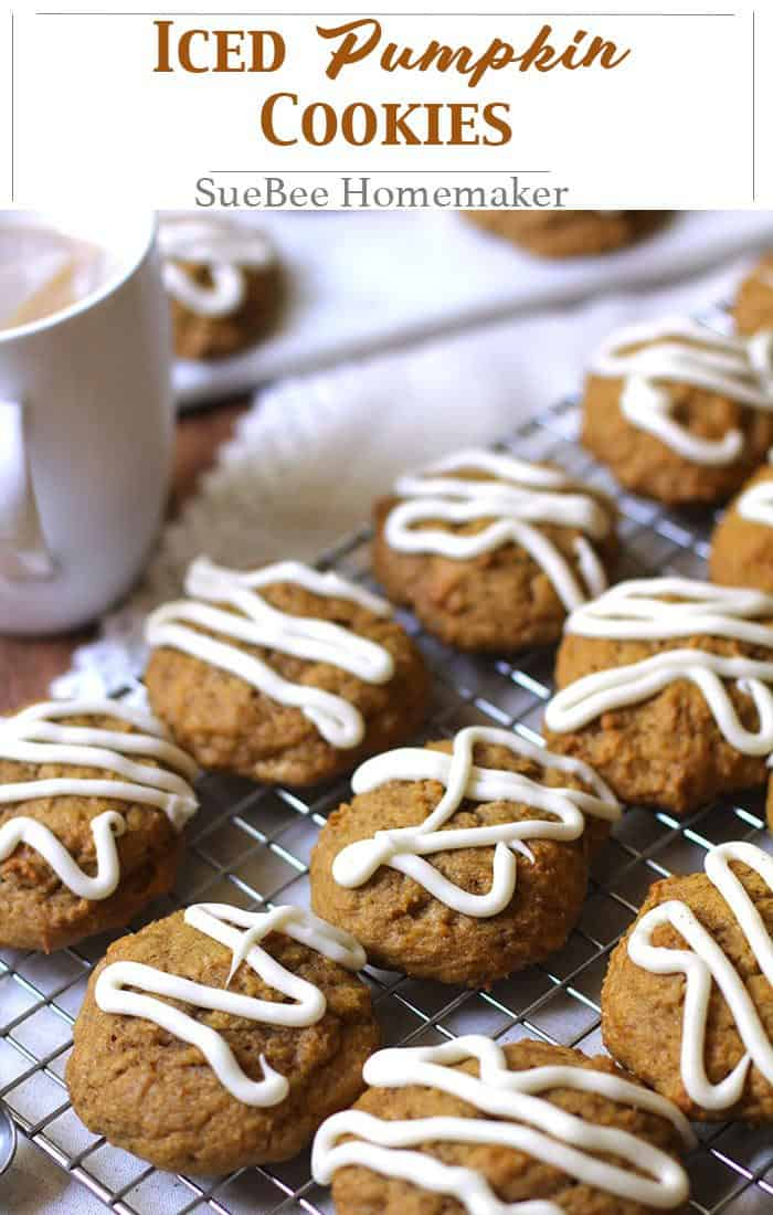 Iced Pumpkin Cookies are THE BEST fall treat. Store them in the refrigerator and enjoy them cold with a cup of coffee. Don't forget to share the recipe!   suebeehomemaker.com   #pumpkincookies #falldessert #cookies #icedcookies #pumpkin