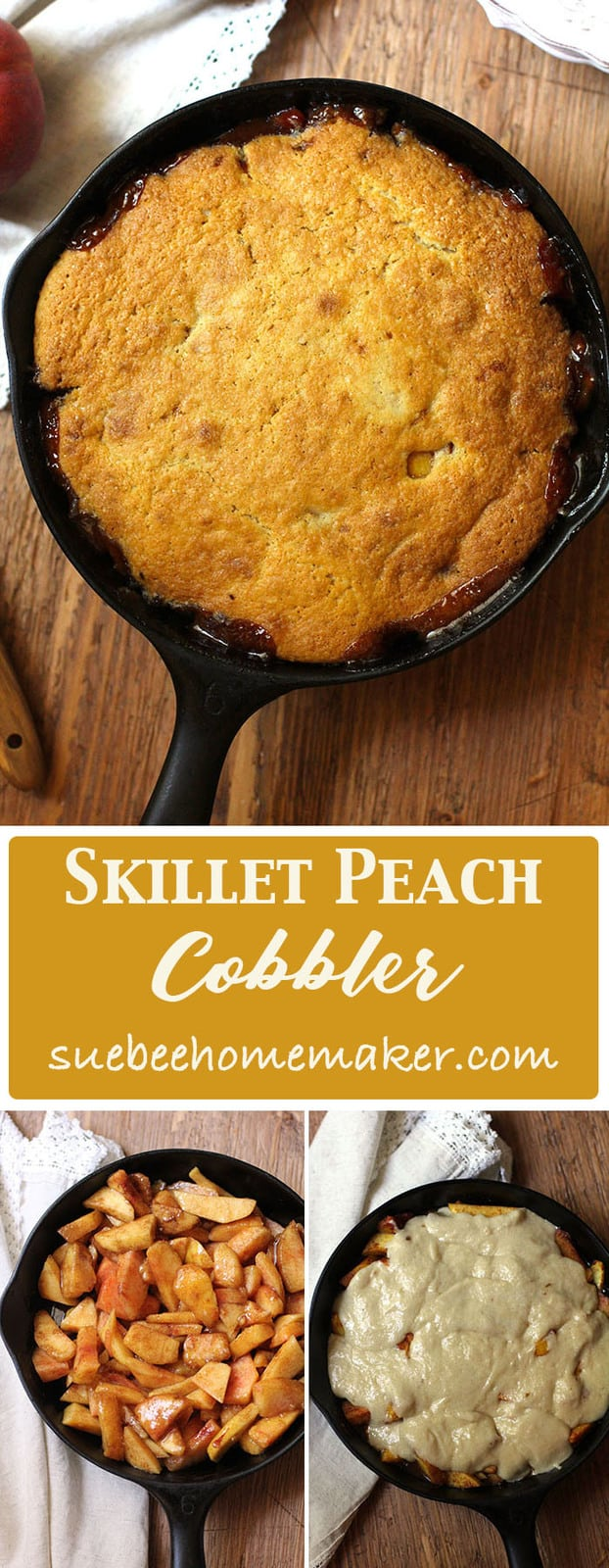 Skillet Peach Cobbler is a slightly sweet, but not-too-sweet Fall dessert that is AAAHHH-mazing with a couple scoops of vanilla ice cream. Eat it warm! | suebeehomemaker.com | #skilletpeachcobbler #peachcobbler #peaches #falldessert
