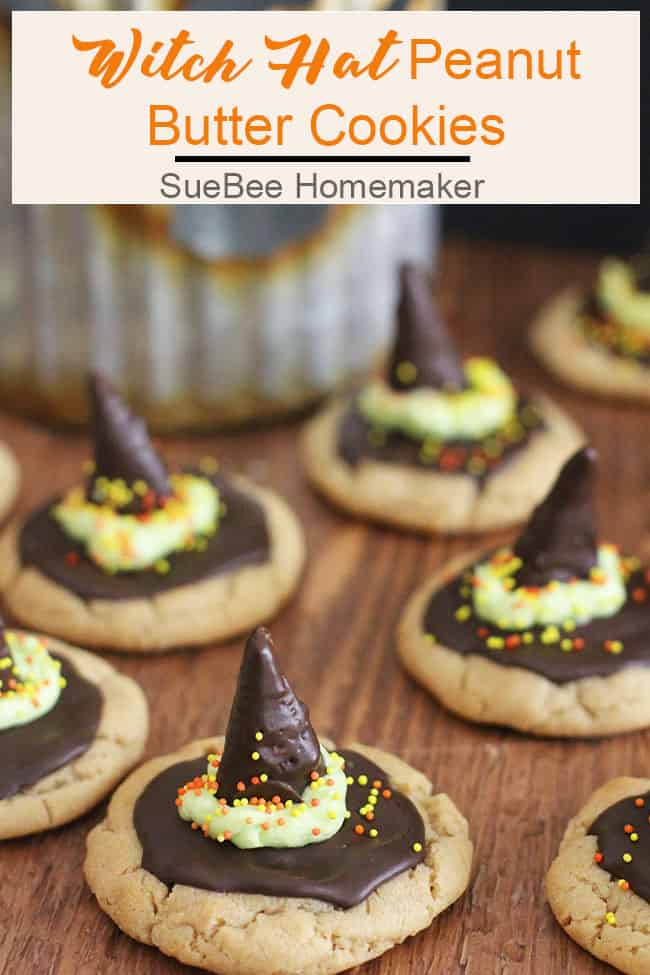 Witch Hat Peanut Butter Cookies will put a spell on your tricksters this Halloween! A simple peanut butter cookie all tricked up with a chocolate covered bugle for the hat and a quick buttercream sash. Simple and so delightful! | suebeehomemaker.com | #halloweencookies #witchhats #peanutbuttercookies #halloween #cookies