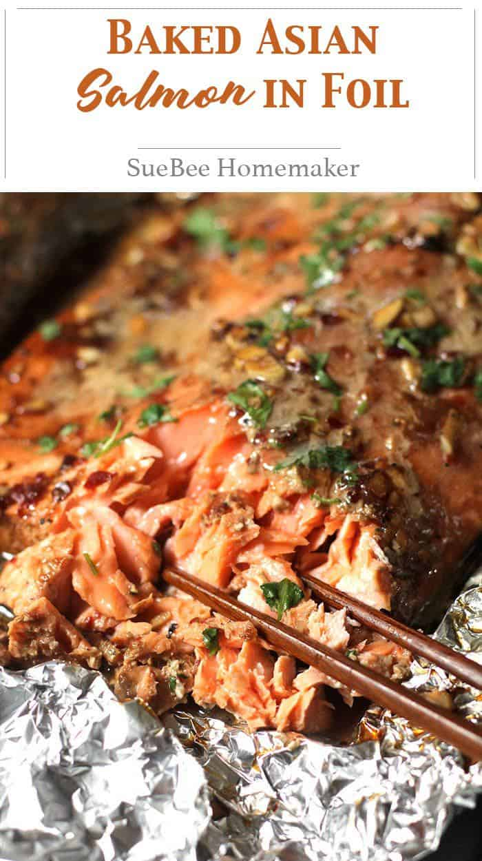 Baked Asian Salmon in Foil is an easy weeknight dinner, but is impressive enough for guests on the weekend! Don't skip any of the Asian ingredients! | suebeehomemaker.com | #bakedsalmon #salmon #asiansalmon #asiandish #bakedinfoil #fish
