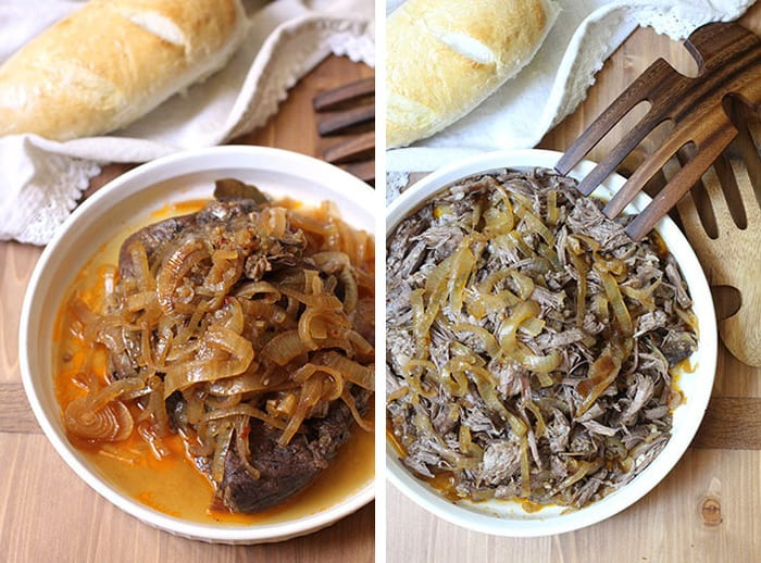 Overhead process shots of 1) the whole beef roast in a white shallow bowl, with lots of onions on top, on a wooden background, and 2) shredded beef with onions in a shallow white bowl on a wooden background.