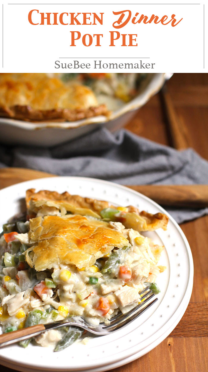 Chicken Dinner Pot Pie is the perfect solution to using leftover chicken or turkey. The creamy roux makes this pot pie extra delicious. Try it tonight! | suebeehomemaker.com | #chickendinner #potpie #chickenpotpie #comfortfood #leftovers