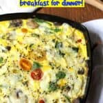 A skillet of creamy vegetable frittata.