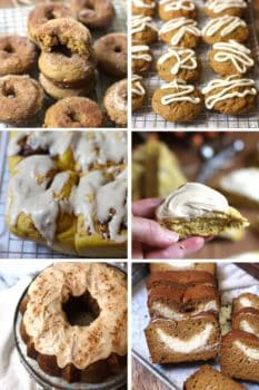 A collage of pumpkin treats - pumpkin donuts, pumpkin cookies, pumpkin cinnamon rolls, iced pumpkin scone, iced pumpkin bundt cake, cream cheese pumpkin bread.