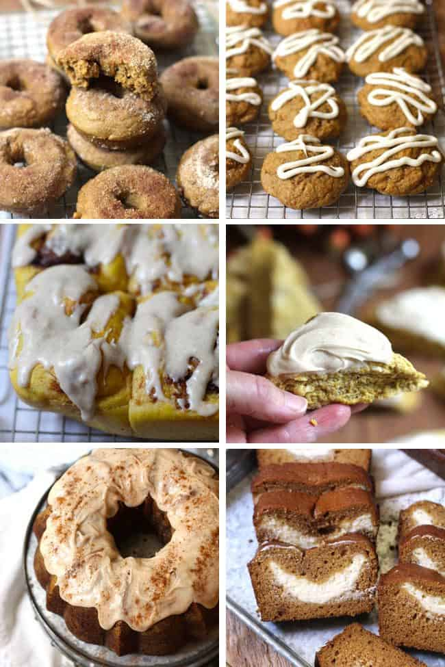 If you are obsessed with everything pumpkin like I am, these recipes will make you seriously happy. I'm sharing six of my top pumpkin recipes! #everythingpumpkin #pumpkindonuts #pumpkinrolls #pumpkincookies #pumpkincake #pumpkinscones #pumpkinbread
