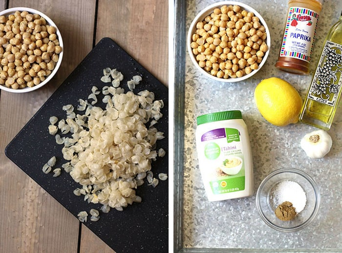 Collage of 1) the skins of the chickpeas removed and 2) the ingredients for the hummus.
