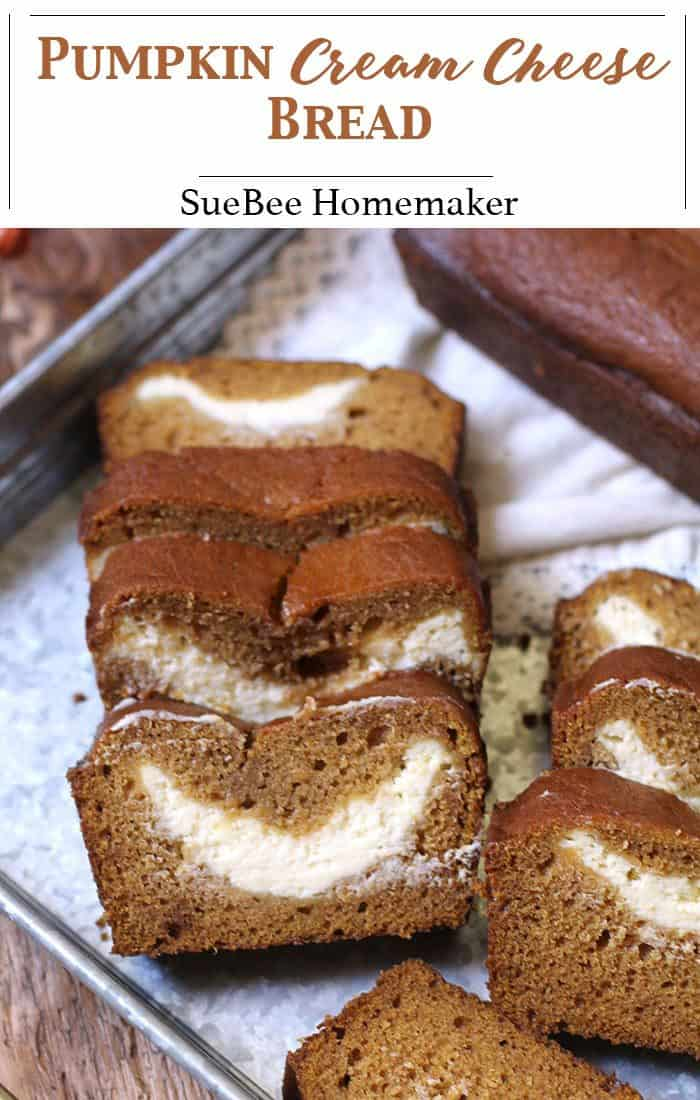 Packed with pumpkin flavors and the sweetest cream cheese surprise in the middle, you'll say YES to pumpkin every time with this Pumpkin Cream Cheese Bread! | suebeehomemaker.com | #pumpkinbread #pumpkincreamcheese #pumpkin #falltreats #pumpkinspice