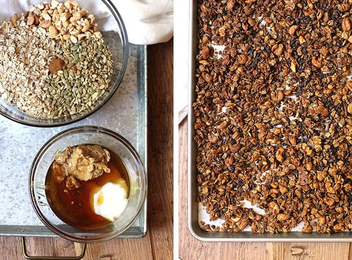 Overhead process shots of 1) the dry ingredients in a glass bowl and the wet ingredients in another bowl, and 2) the baked granola on a baking sheet.