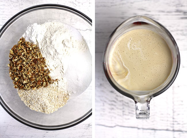 Collage of 1) the dry ingredients, and 2) the wet ingredients.