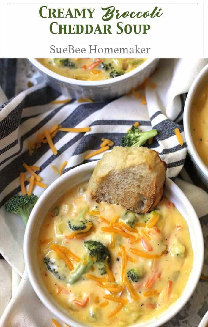 Creamy Broccoli Cheddar Soup is total comfort food. A vegetable base with a creamy roux makes this soup a stretchy-waistband, cozy day meal! | suebeehomemaker.com | #creamysoup #broccolicheddarsoup #soup #broccoli #dinner