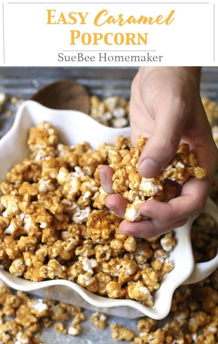 Easy Caramel Popcorn is a perfect snack for any time of year. Baking it in the oven makes it nice and crunchy. Watch out because it's delicious AND addicting! | suebeehomemaker.com | #easyrecipe #caramelcorn #caramelpopcorn #popcorn #fallsnack
