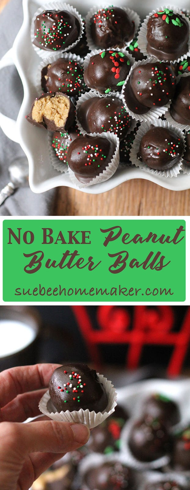 My simple No Bake Peanut Butter Balls are amazingly creamy in the inside, and slightly crunchy on the outside. They make a perfect holiday treat! | suebeehomemaker.com