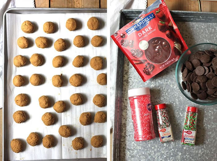 Collage of the rolled peanut butter balls before the chocolate is added, and the chocolate ingredients and sprinkles.