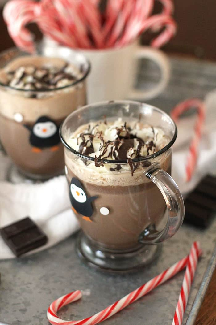 Two mugs of hot chocolate with whipped cream and chocolate on top.