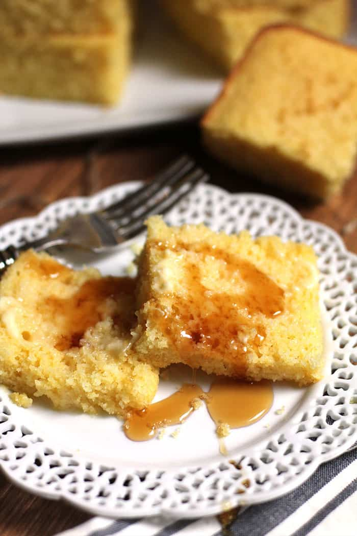 My Sweet Buttermilk Cornbread has all the right ingredients for a perfectly sweetened and buttery cornbread. Eat it with butter and syrup for best results! | suebeehomemaker.com