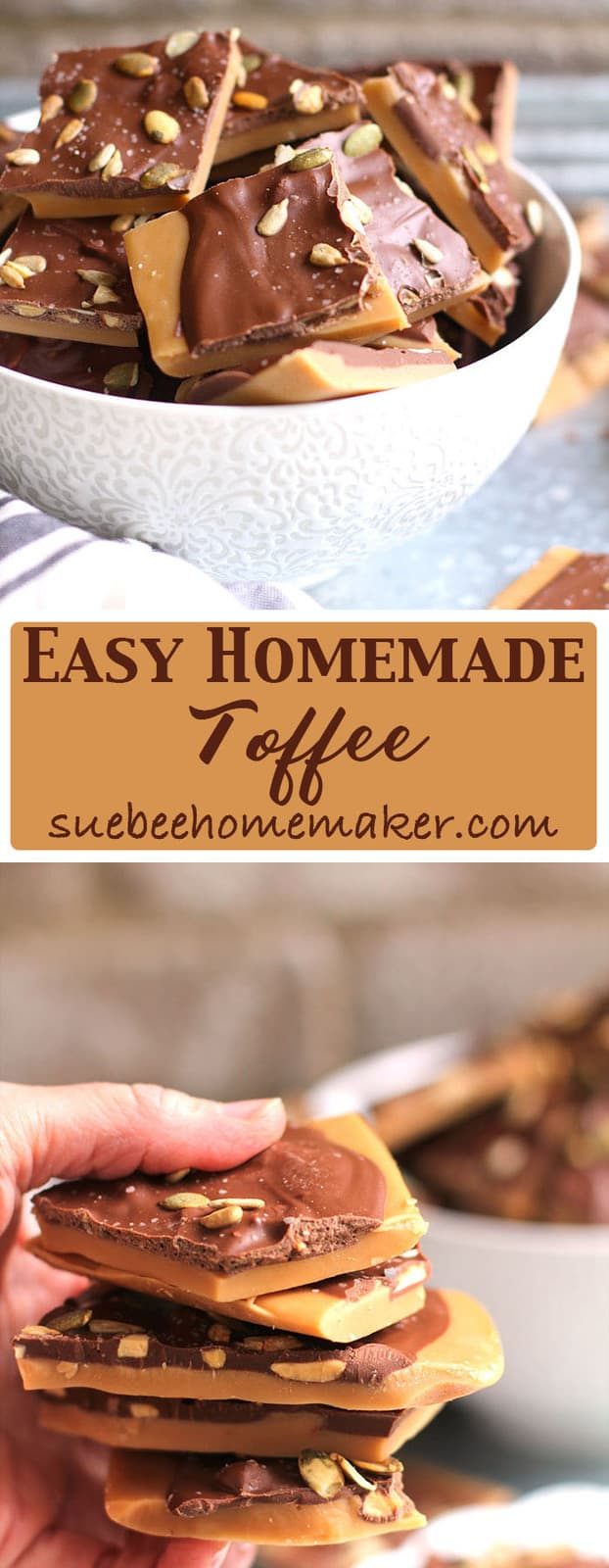 Easy Homemade Toffee is the ultimate holiday treat and reminds me of my mom, who made this every year. Only eight ingredients and patience necessary!   suebeehomemaker.com
