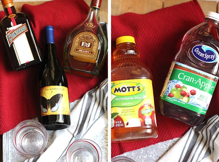Overhead process shots of 1) three bottles of liquor on a red placemat, and 2) the apple juice and the cranapple juice, on a red placemat.