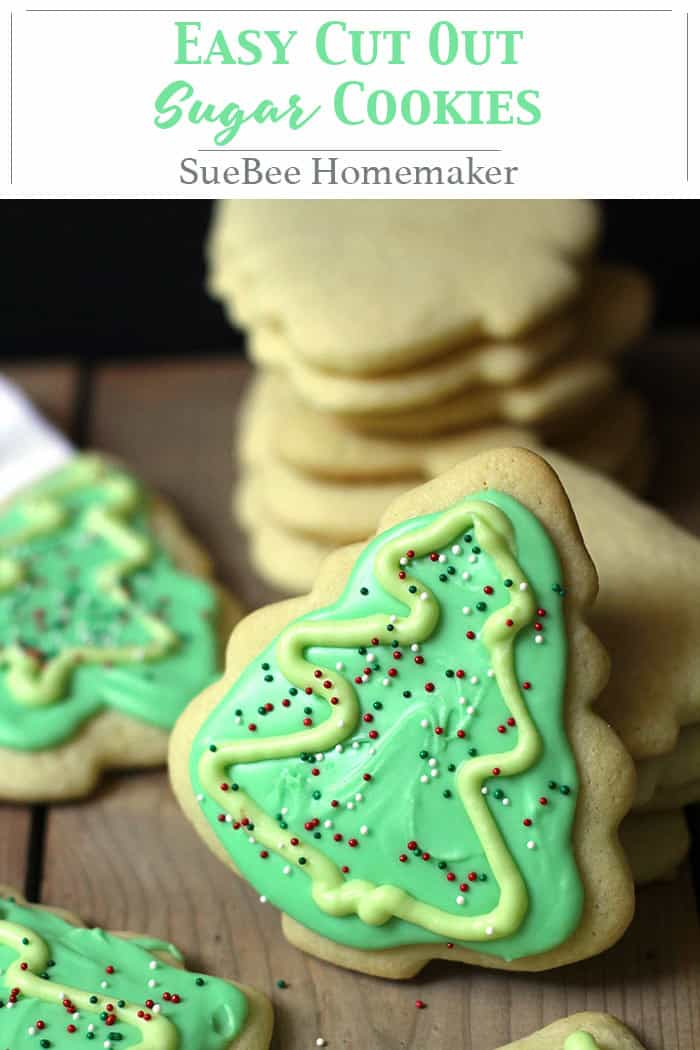Easy Cut Out Sugar Cookies bring me waaayyyy back. My mother, Norma Jean, made these during my childhood, and the memories are flooding in. They are super easy to make, and perfect for decorating. Get your friends and family in the kitchen, and have a cookie-making party! | suebeehomemaker.com | #cutoutcookies #sugarcookies #holidaycookies #decoratingcookies #cutouts
