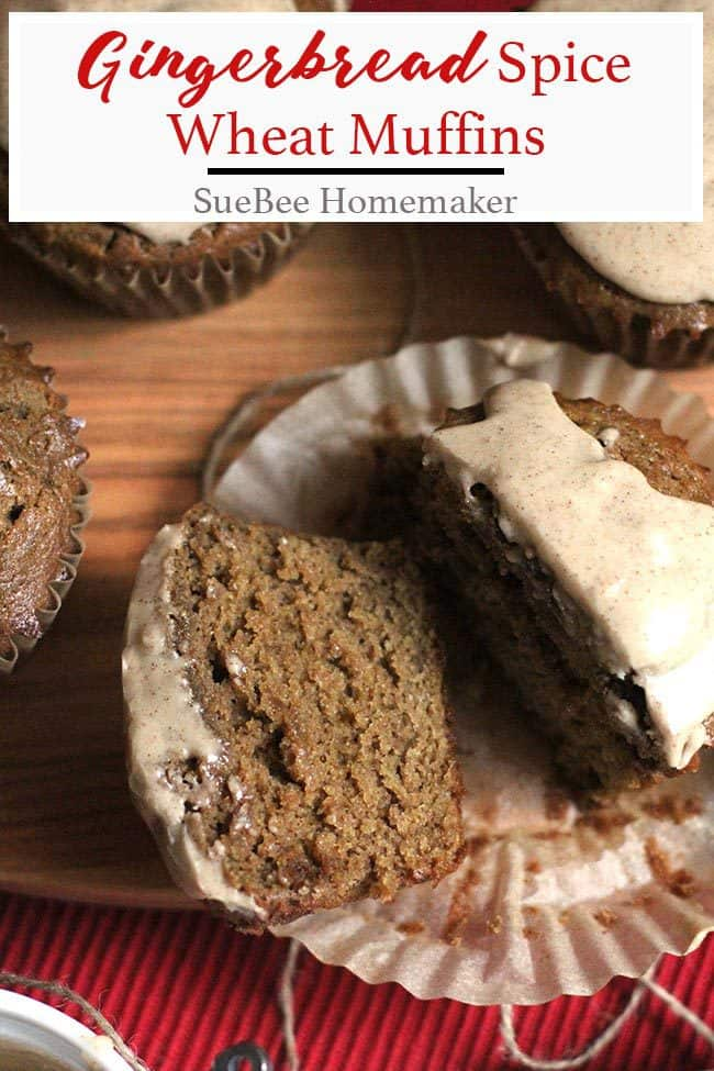 Gingerbread Spice Wheat Muffins are an amazing treat, full of holiday flavors that give you that oh-so-cozy type of feeling. These are also lightened up! | suebeehomemaker.com | #gingerbreadspice #muffins #holidayfood #gingerbreadmuffins
