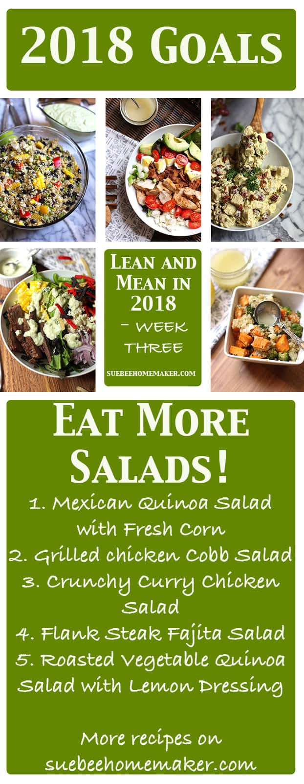 Lean and Mean in 2018 - it's all about balance. My five salad recipes will give you a great jump-start to your clean eating in 2018! | suebeehomemaker.com