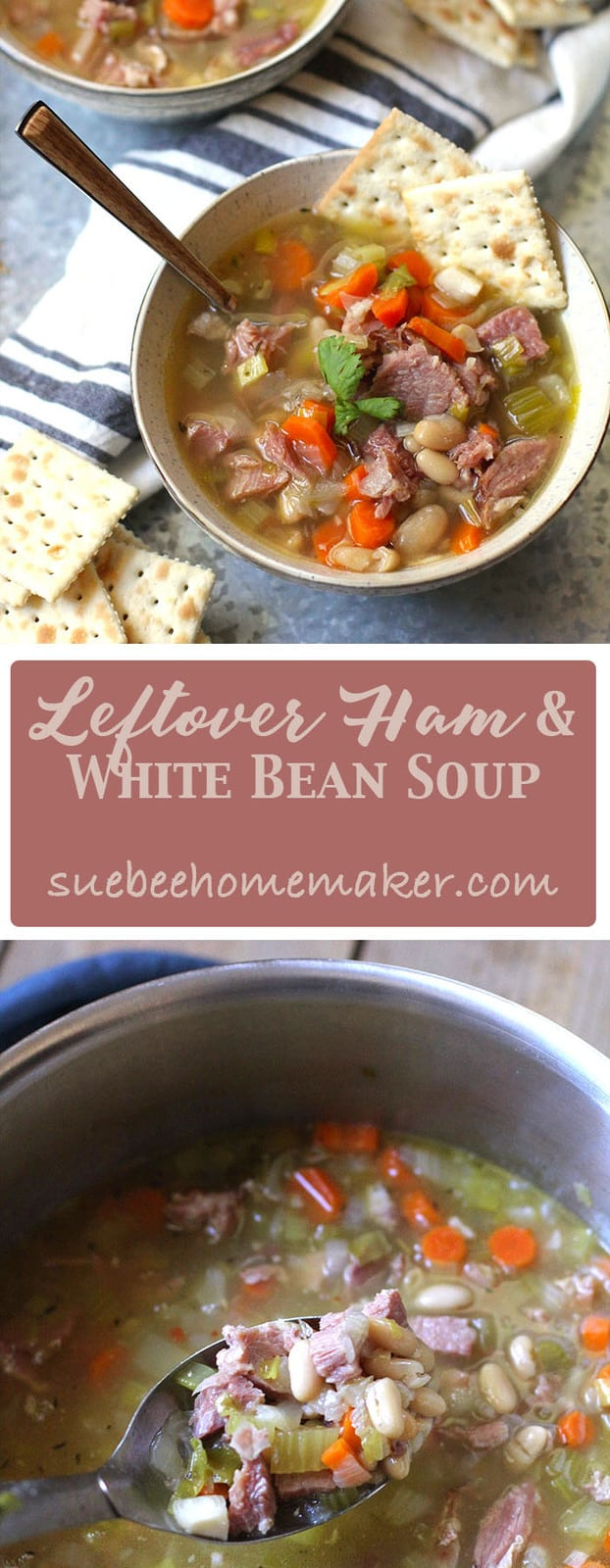 Leftover Ham and White Bean Soup is a clean-out-the-refrigerator type of meal. Boil your leftover ham bone, & add tons of veggies, beans, and leftover ham! | suebeehomemaker.com